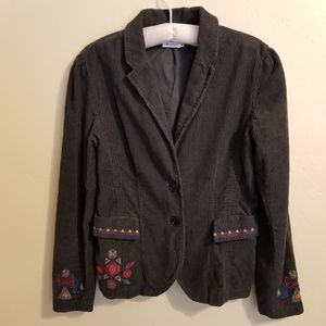 JW Los Angeles Jacket Medium Gray Corduroy Boho